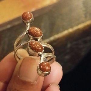 Sunstone ring Adjustable size new 925 Sterling